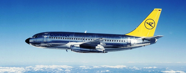 Condor Boeing 737-230 ca 1981, Air to Air