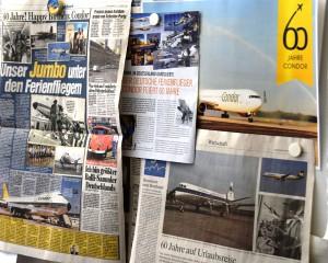 Pressewand in der Condor-Zentrale